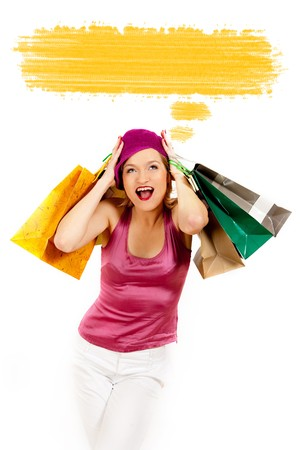 Young pretty shopping woman thinking . blank place for your text design photo