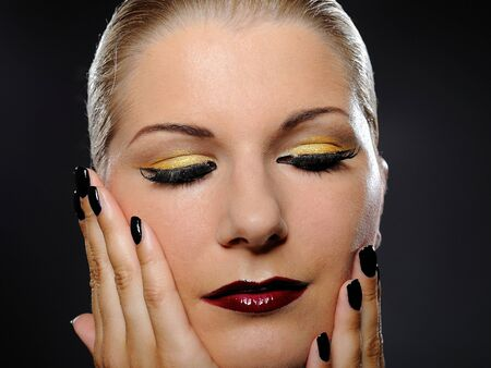 pretty woman with bright make-up and violet lipstick Stock Photo - 7887000