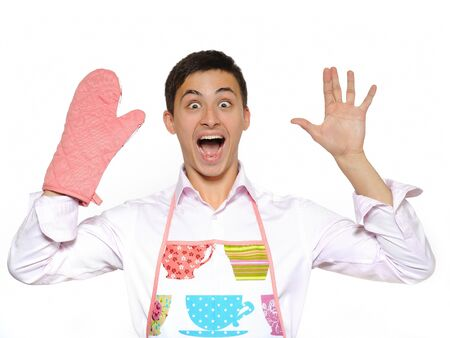 funny cooking man in apron ang kitchen glove screaming. isolated on white background Stock Photo