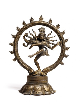 Statue of indian hindu god dancing Shiva Nataraja. isolated on white background