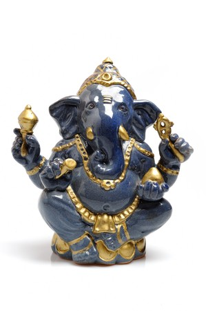 A statue of an Indian god Lord Ganesha. isolated on white background.  photo