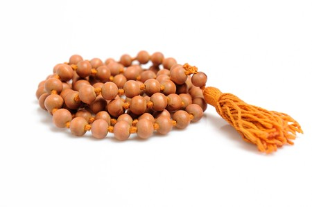 Traditional indian rosary for meditation - mala . isolated on white background Stock Photo - 8045248