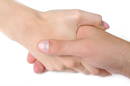 manicured hands: Woman and man hand shake togather. isolated on white background Stock Photo