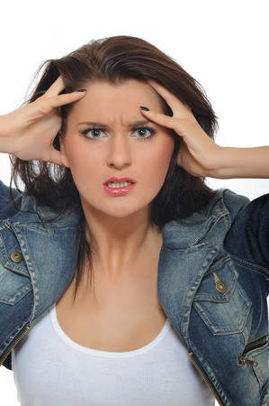 young attractive woman is terrified and angry Stock Photo - 8157903