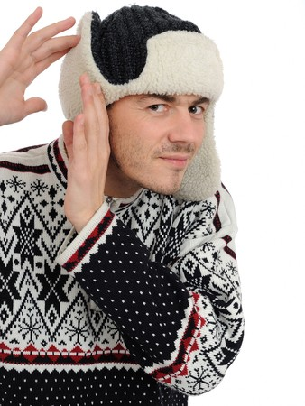 expressions. Funny winter men in warm hat and clothes listening. isolated on white background Stock Photo - 8244073