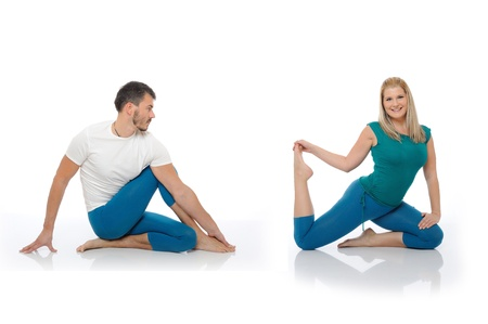 active man and woman doing yoga fitness poses. isolated on white background Standard-Bild
