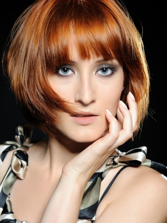 girl short hair: Beautiful red haired woman with fashion bob hairstyle and creative trendy make-up