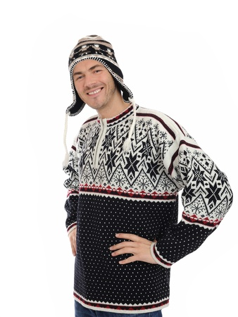 Funny winter man in warm hat and clothes smiling. isolated on white background Stock Photo - 8328402