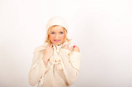 beautiful winter woman in warm clothes photo