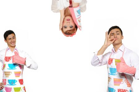 Funny collage with two cooking man in apron and one crazy chef woman. isolated on white background Stock Photo