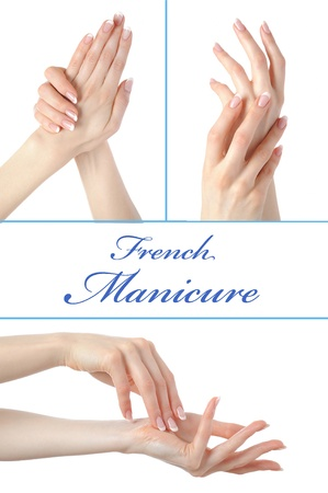 Beautiful hand with perfect french manicure Stock Photo