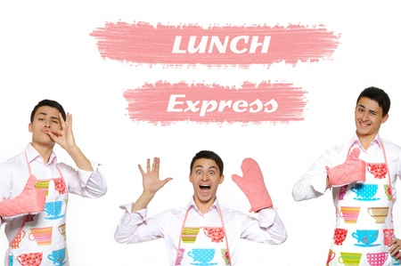 express feelings: Funny collage with three cooking men in apron and text lunch express. isolated on white background Stock Photo