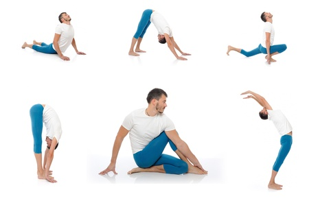 Group of photos of handsome active man doing yoga fitness poses. isolated on white background Stock Photo