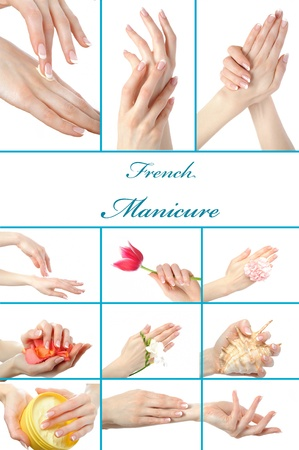 collage.Beautiful hand with perfect french manicure  group. isolated on white background