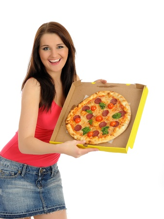 Pretty young casual girl with tasty pizza in delivery paper box. isolated on white background Stock Photo - 8613288