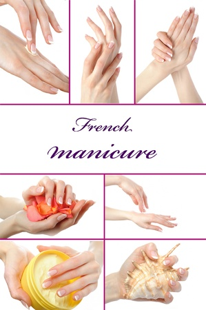 collage.Beautiful hand with perfect french manicure  group photo. isolated on white background Standard-Bild