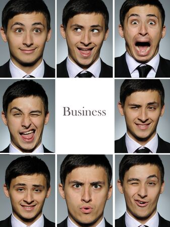 group picture: Foto de grupo de collage de expresiones faciales de muchos negocios hombre. espacio en blanco para texto