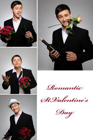 group picture: Foto de grupo de collage de hombre con flores y botella de vid para el d�a de San Valent�n