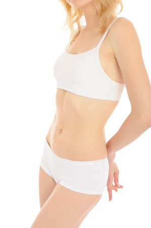 Part of beautiful fit slim woman body in white underwear. isolated
