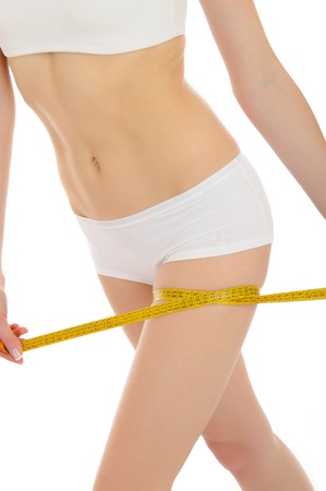 Part of beautiful fit slim woman body in white underwear measuring legs. anti-cellulite. isolated