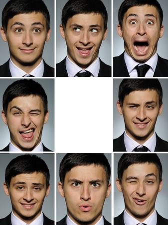 Collage group picture of many business man facial expressions. blank space for text