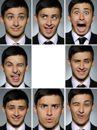 expresiones faciales: Foto de grupo de collage de expresiones faciales de muchos negocios hombre. espacio en blanco para texto