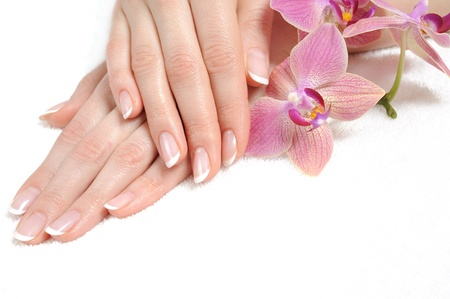 Beautiful hand with perfect nail french manicure and purple orchid flowers. isolated on white background