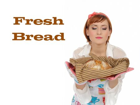 collage. Beautiful cooking woman and chiabatta bread Stock Photo - 8949772