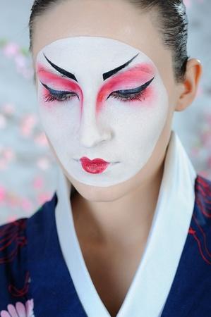 kabuki: japan geisha woman with creative make-up.close-up artistic portrait