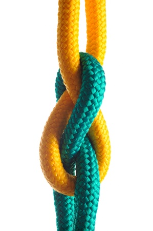 Rope with marine knot on white background  Stock Photo