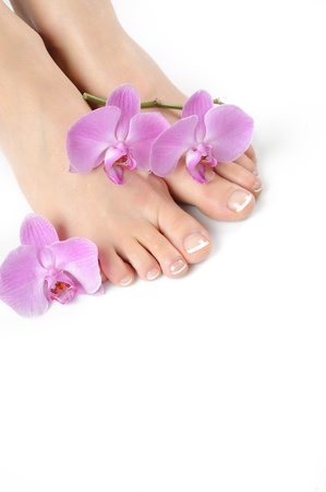 Beautiful feet with perfect spa french nail pedicure.isolated Stock Photo - 9015104