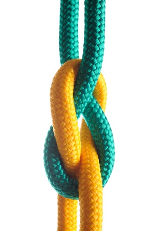 lashing:  Rope with marine knot on white background. series of photos isolated over white