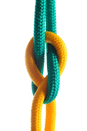 natural rope: Rope with marine knot on white background  Stock Photo