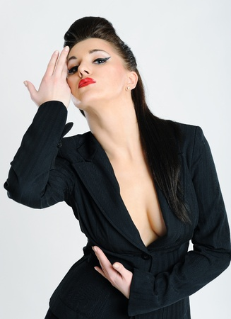 Beautiful sexy fashion model woman in formal suit.isolated Stock Photo - 9096782