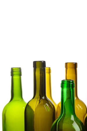 Many empty green wine bottles isolated on white background Stock Photo - 9159809
