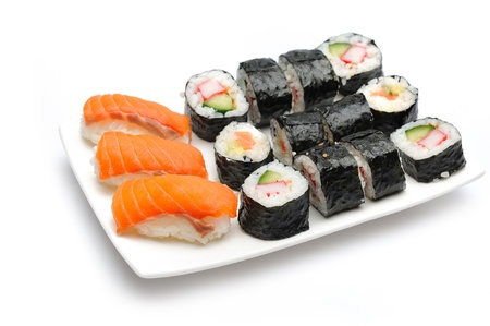 Different Types of Maki Sushi and Nigiri Sushi in Sushi Set  photo