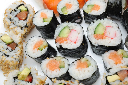 Different Types of Maki Sushi and Nigiri Sushi in Sushi Set  Stock Photo