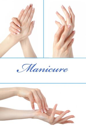 collage.Beautiful hand with perfect french manicure  group photo. isolated on white background Stock Photo