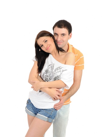 sweet young summer couple in love having fun. isolated Stock Photo - 9249686