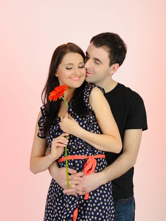 turkish man: lovely romantic couple with flower embracing