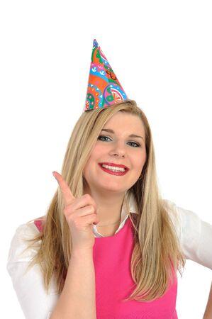 Pretty party female celebrating birthsday . isolated Stock Photo - 9277035