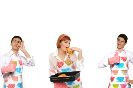 collage. Beautiful cooking woman and chiabatta bread and 2 man photo