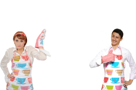 Funny collage with cooking couple - man in apron and one chef woman. isolated on white background photo