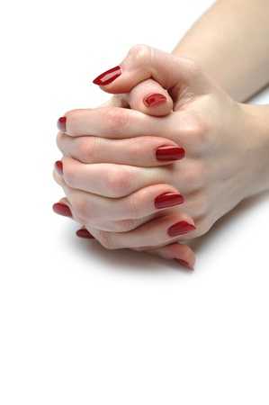 Beautiful hand with perfect nail red manicure  photo