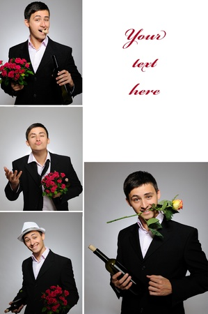 Collage group picture of man with flowers and bottle of vine for valentines day photo
