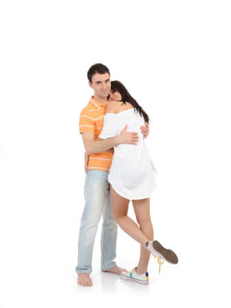 sweet young summer couple in love having fun. isolated Stock Photo - 9392393