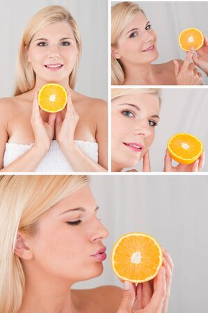 Pretty female with citrus orange fruit and pure skin collage photo