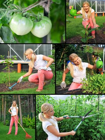 Collage. Beautiful casual woman gardening Stock Photo - 9484477