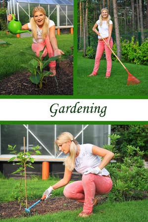 smiling woman in a greenhouse: Collage. Beautiful casual woman working in garden