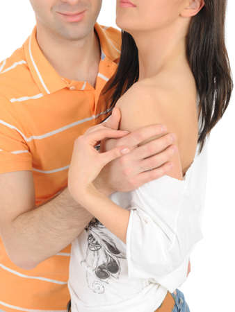Body parts.couple hugging and touching each other photo